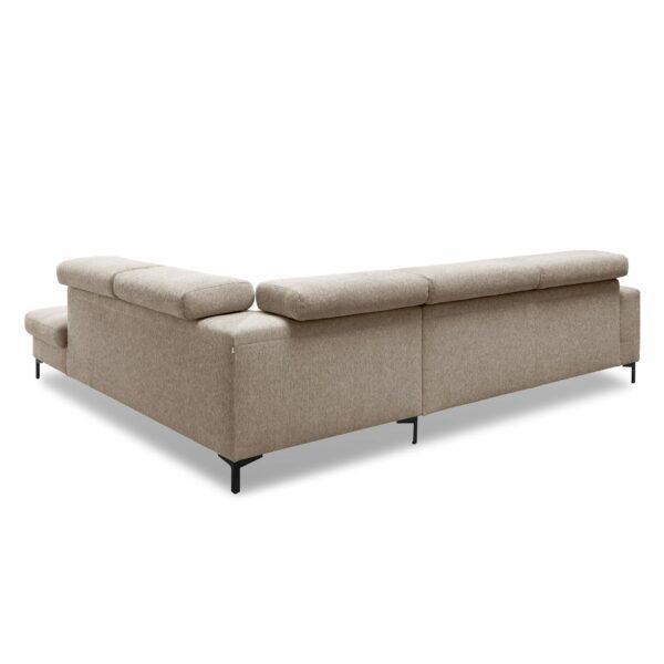 set one by Musterring SO 1300 Sofa mit Bezug in Grey Beige und Ottomane rechts in Rückansicht.
