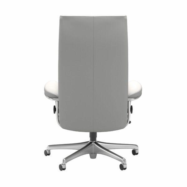 Stressless London Sessel High Back Home Office Untergestell Chrom und Bezug Leder Batick Snow – Rücken