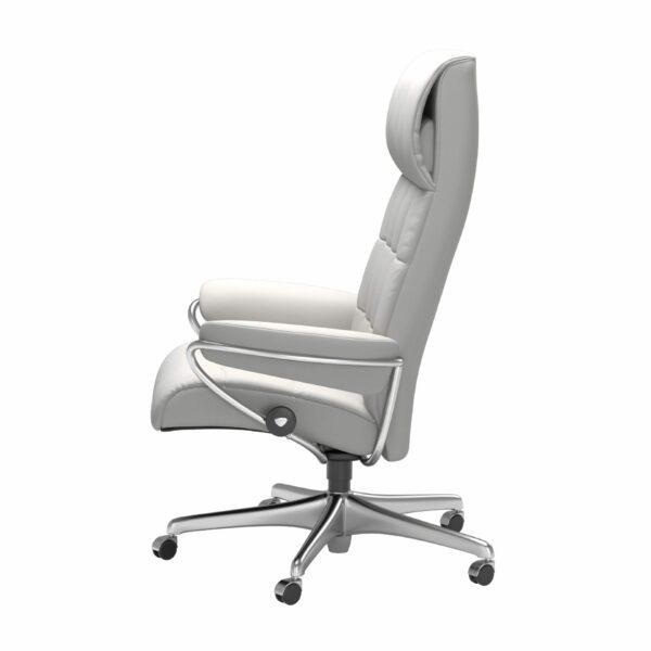 Stressless London Sessel High Back Home Office Untergestell Chrom und Bezug Leder Batick Snow – seitlich