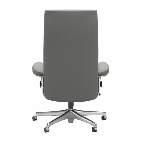 Stressless London Sessel High Back Home Office Untergestell Chrom und Bezug Leder Paloma Silver Grey – Rücken