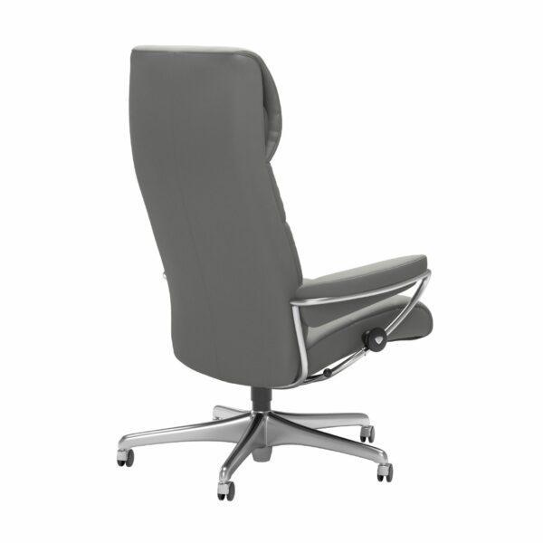 Stressless London Sessel High Back Home Office Untergestell Chrom und Bezug Leder Paloma Silver Grey – Schrägansicht