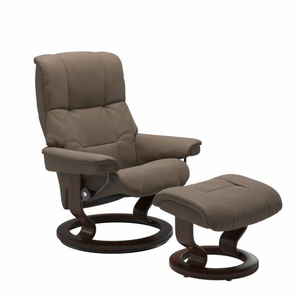 Stressless Mayfair Sessel mit Hocker – Bezug aus Leder Batick Mole mit Classic Untergestell in der Holzfarbe Braun