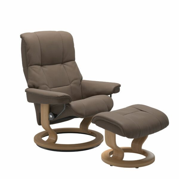 Stressless Mayfair Sessel mit Hocker – Bezug aus Leder Batick Mole mit Classic Untergestell in der Holzfarbe Eiche