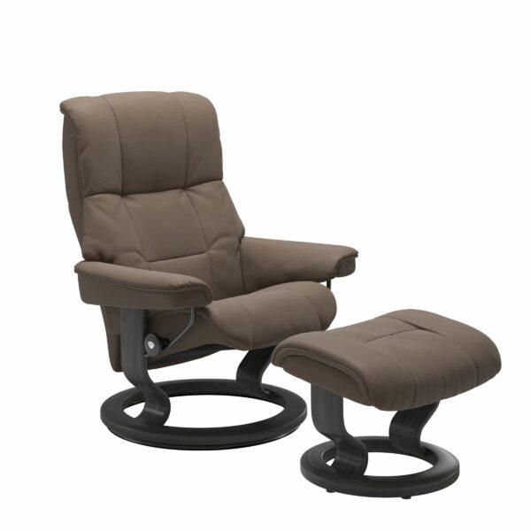 Stressless Mayfair Sessel mit Hocker – Bezug aus Leder Batick Mole mit Classic Untergestell in der Holzfarbe Grau