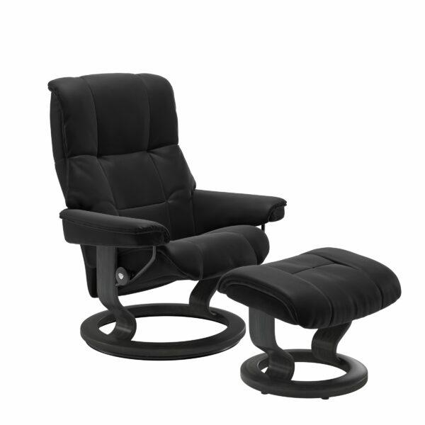 Stressless Mayfair Sessel mit Hocker – Bezug aus Leder Paloma Black mit Classic Untergestell in der Holzfarbe Grau
