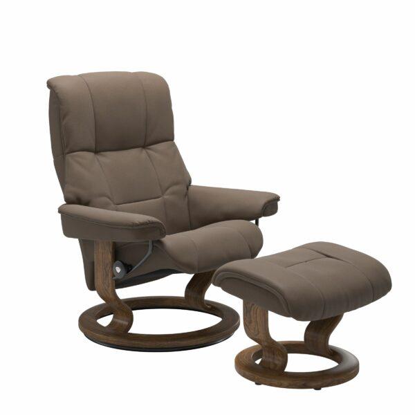 Stressless Mayfair Sessel mit Hocker – Bezug aus Leder Batick Mole mit Classic Untergestell in der Holzfarbe Teak