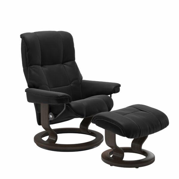 Stressless Mayfair Sessel mit Hocker – Bezug aus Leder Paloma Black mit Classic Untergestell in der Holzfarbe Wenge