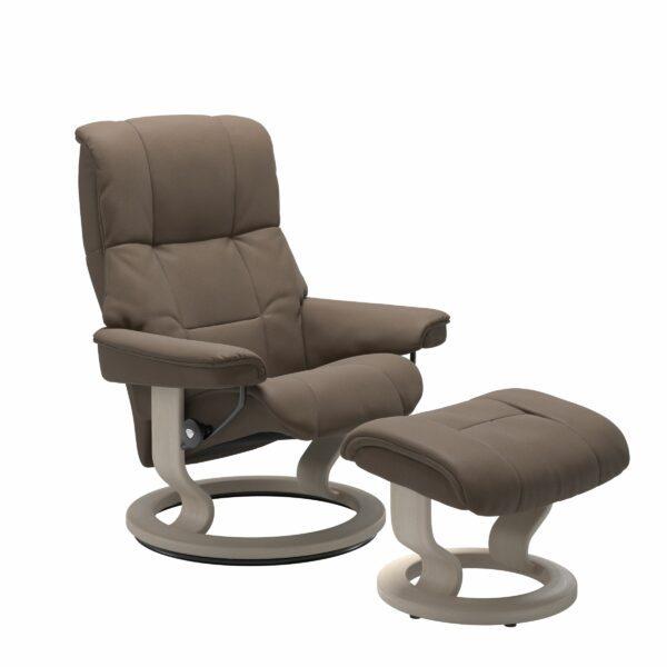 Stressless Mayfair Sessel mit Hocker – Bezug aus Leder Batick Mole mit Classic Untergestell in der Holzfarbe Whitewash