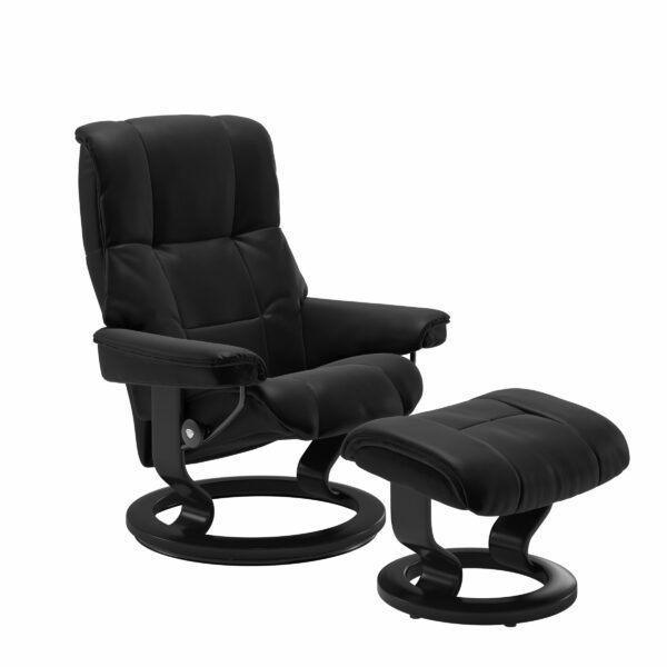 Stressless Mayfair Sessel mit Hocker – Bezug aus Leder Batick Black mit Classic Untergestell in der Holzfarbe Schwarz