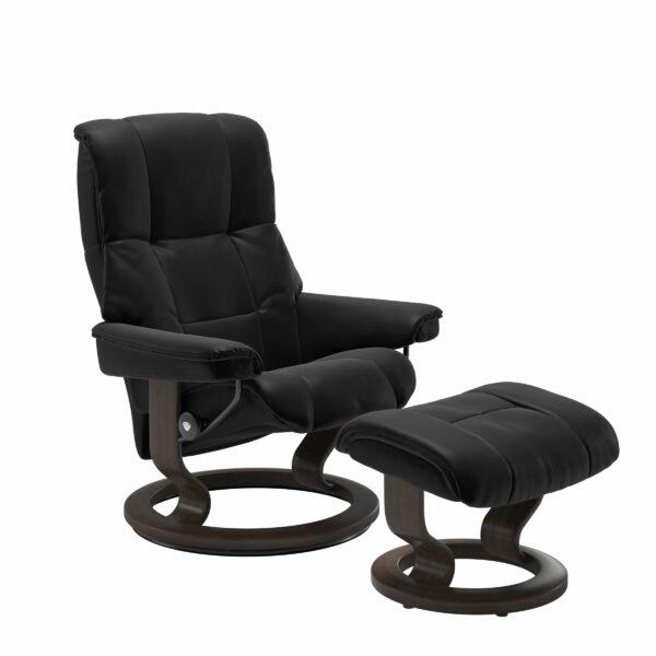 Stressless Mayfair Sessel mit Hocker – Bezug aus Leder Batick Black mit Classic Untergestell in der Holzfarbe Wenge