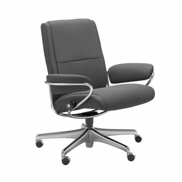 Stressless Paris Sessel Low Back Home Office Untergestell Chrom – Bezug Leder Batick Grey