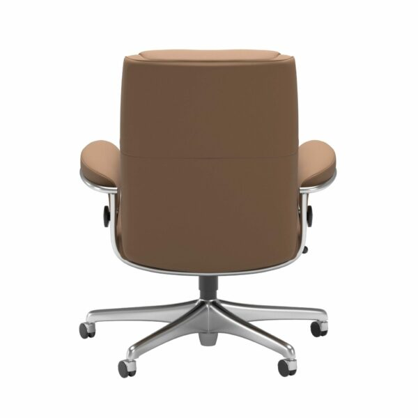 Stressless Paris Sessel Low Back Home Office Untergestell Chrom mit Bezug Leder Batick Latte – Rücken