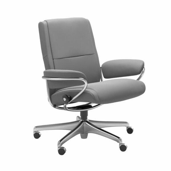 Stressless Paris Sessel Low Back Home Office Untergestell Chrom – Bezug Leder Batick Wild Dove