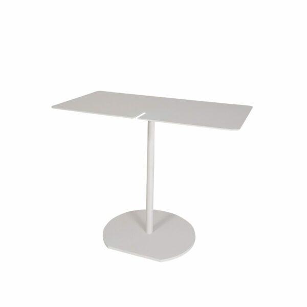 WK Wohnen Edition 9302 Beistelltisch aus Metall in Weiß in seitlicher Ansicht.