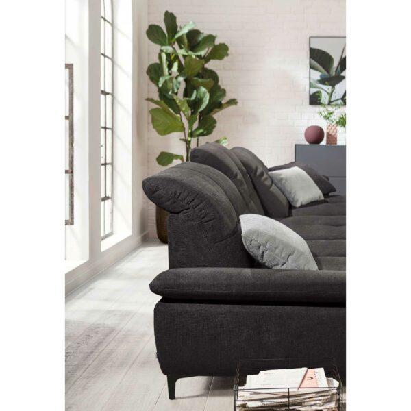 SO 1400 Ecksofa mit Vorziehbank und Bettkasten graphite black Bild 13