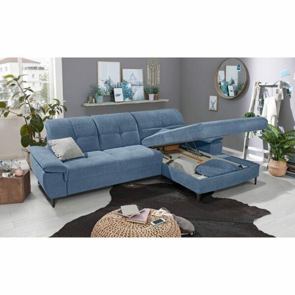 SO 1400 Ecksofa mit Vorziehbank und Bettkasten pigeon blue Bild 2