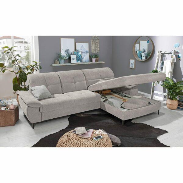 SO 1400 Ecksofa mit Vorziehbank und Bettkasten grey white Bild 2