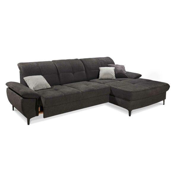 SO 1400 Ecksofa mit motorischer Vorziehbank, Bettkasten und Gleitfunktion graphite black Bild 2