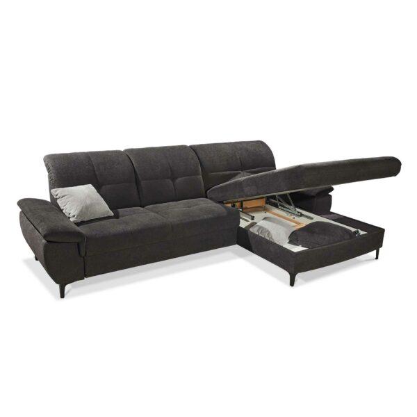 SO 1400 Ecksofa mit motorischer Vorziehbank, motorischer Gleitfunktion und Bettkasten graphite black Bild 3