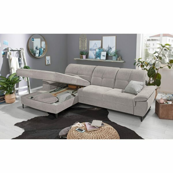 SO 1400 Ecksofa mit Vorziehbank und Bettkasten grey white Bild 4