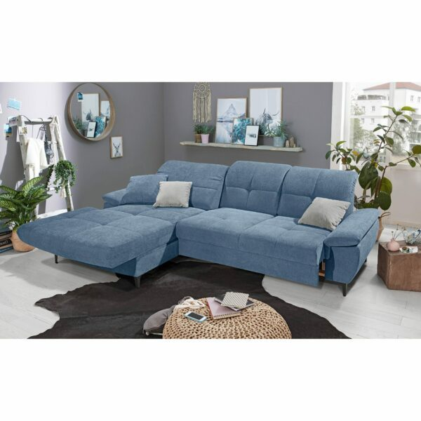 SO 1400 Ecksofa mit motorischer Vorziehbank, Bettkasten und Gleitfunktion pigeon blue Bild 4