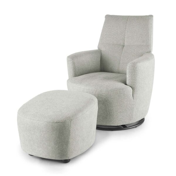set one by Musterring Sessel mit Hocker SO 1450 in agate grey seitlich