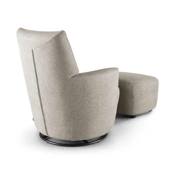 set one by Musterring Sessel mit Hocker SO 1450 in beige Rückenansicht