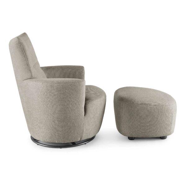 set one by Musterring Sessel mit Hocker SO 1450 in beige Seitenansicht