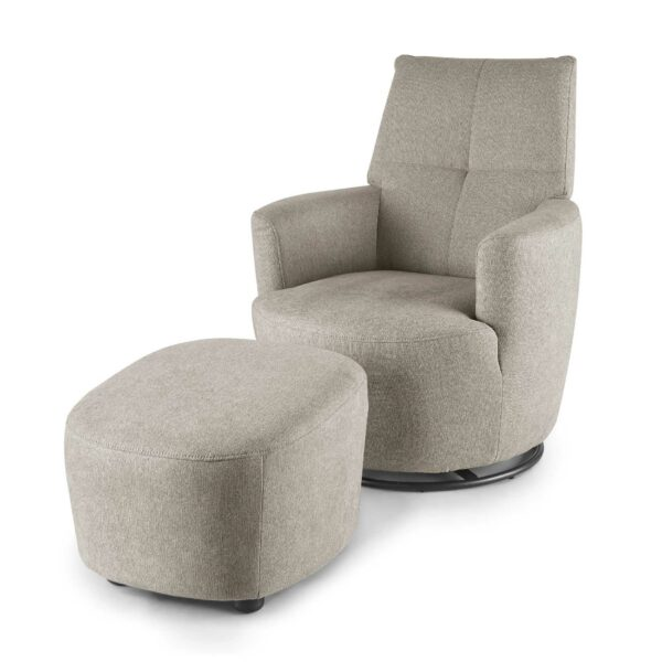 set one by Musterring Sessel mit Hocker SO 1450 in beige seitlich
