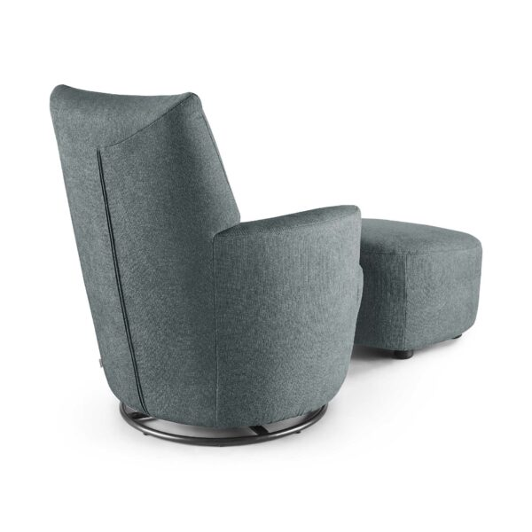 set one by Musterring Sessel SO 1450 mit Hocker in blue grey Rückenansicht