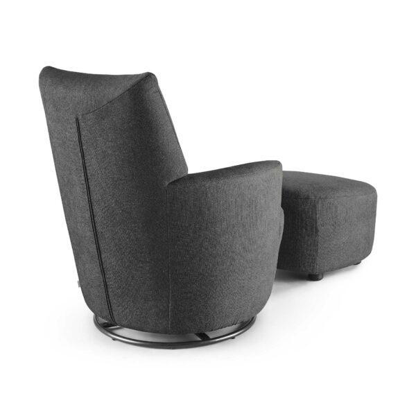 set one by Musterring Sessel SO 1450 mit Hocker in graphite grey Rückenansicht