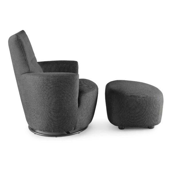 set one by Musterring Sessel SO 1450 mit Hocker in graphite grey Seitenansicht