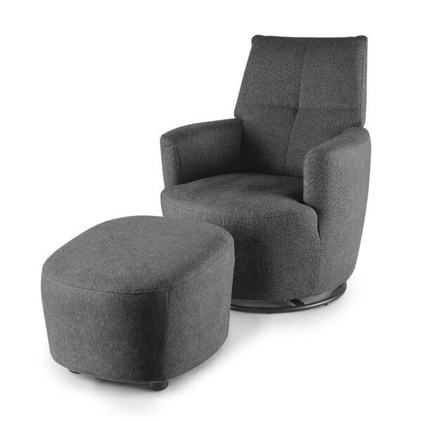 set one by Musterring Sessel SO 1450 mit Hocker in graphite grey seitlich