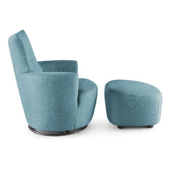 set one by Musterring Sessel mit Hocker SO 1450 in pastel blue Seitenansicht
