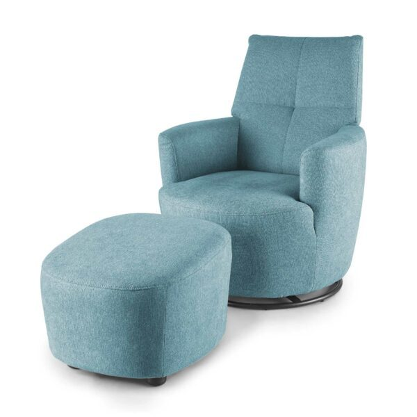 set one by Musterring Sessel mit Hocker SO 1450 in pastel blue seitlich