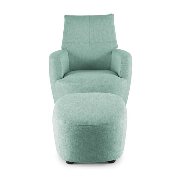 set one by Musterring Sessel SO 1450 mit Hocker in pastel turquoise Frontansicht
