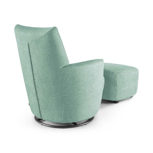 set one by Musterring Sessel SO 1450 mit Hocker in pastel turquoise Rückenansicht