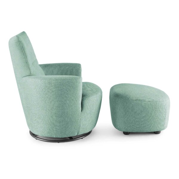 set one by Musterring Sessel SO 1450 mit Hocker in pastel turquoise Seitenansicht