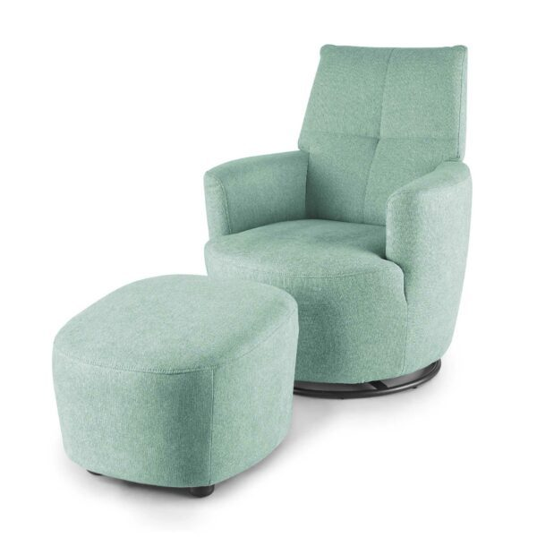 set one by Musterring Sessel SO 1450 mit Hocker in pastel turquoise seitlich