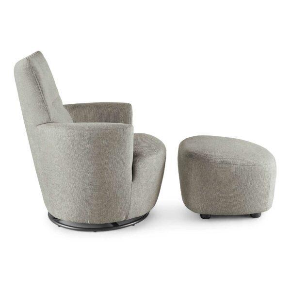 set one by Musterring Sessel mit Hocker SO 1450 in platinum grey Seitenansicht