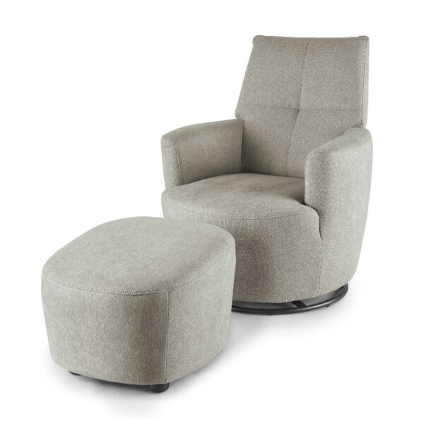 set one by Musterring Sessel mit Hocker SO 1450 in platinum grey seitlich