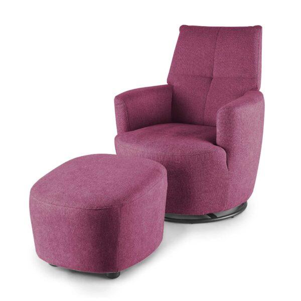 set one by Musterring Sessel mit Hocker SO 1450 in traffic purple seitlich