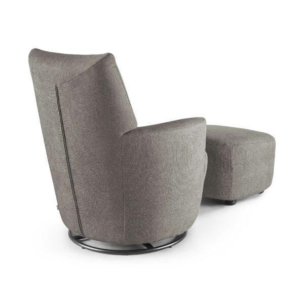 set one by Musterring Sessel mit Hocker SO 1450 in windows grey Rückenansicht