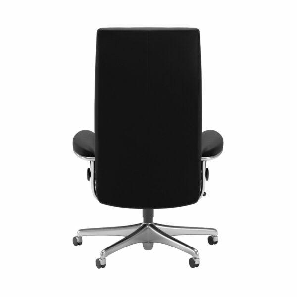 Stressless London Sessel High Back Home Office Untergestell Chrom und Bezug Leder Paloma Black – Rücken