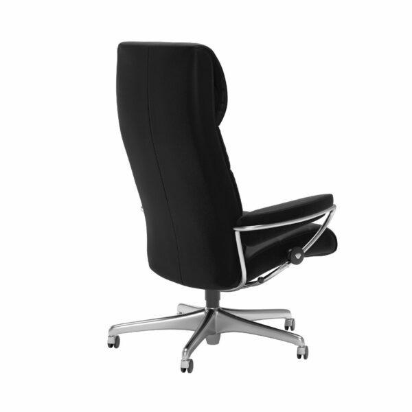 Stressless London Sessel High Back Home Office Untergestell Chrom und Bezug Leder Paloma Black – Schrägansicht