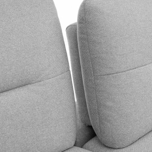 Trendstore Pamelia 2-Sitzer oder 3-Sitzer Sofa in Silber. Detailansicht der verstellbaren Rückenlehne.