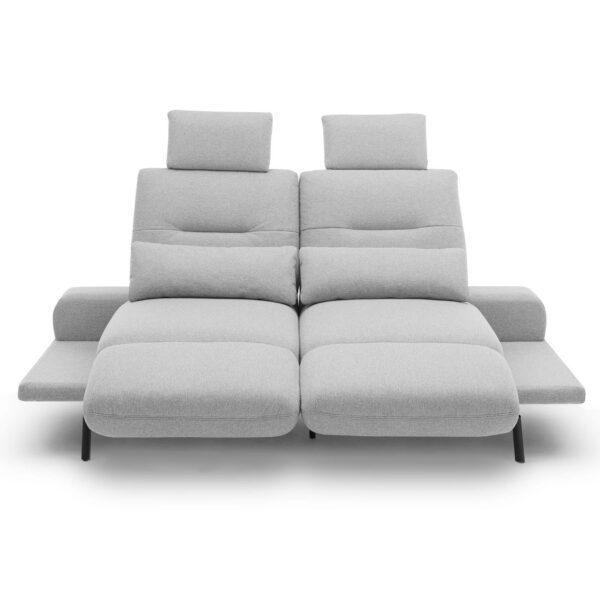 Trendstore Pamelia 3-Sitzer Sofa mit drehbaren Sitzelementen und Bezug in Silbergrau in frontaler Ansicht