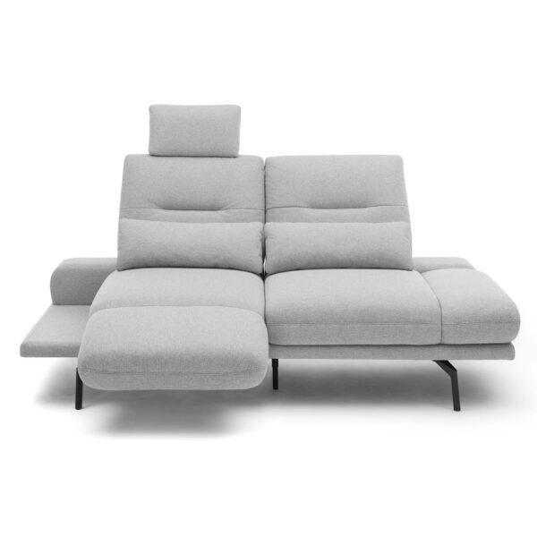 Trendstore Pamelia 3-Sitzer Sofa mit drehbaren Sitzelementen und Bezug in Silbergrau in Vogelperspektive.