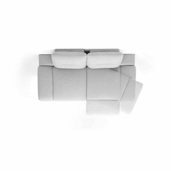 Trendstore Pamelia 3-Sitzer Sofa mit drehbaren Sitzelementen in Vogelperspektive.