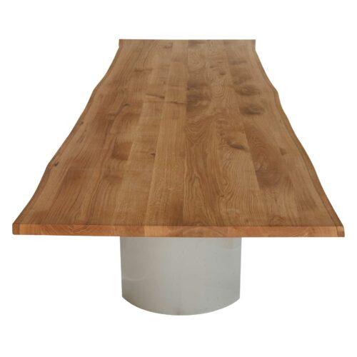 Contur Esstisch 3001 mit halbrunden Metallgestell und Tischplatte mit Baumkante